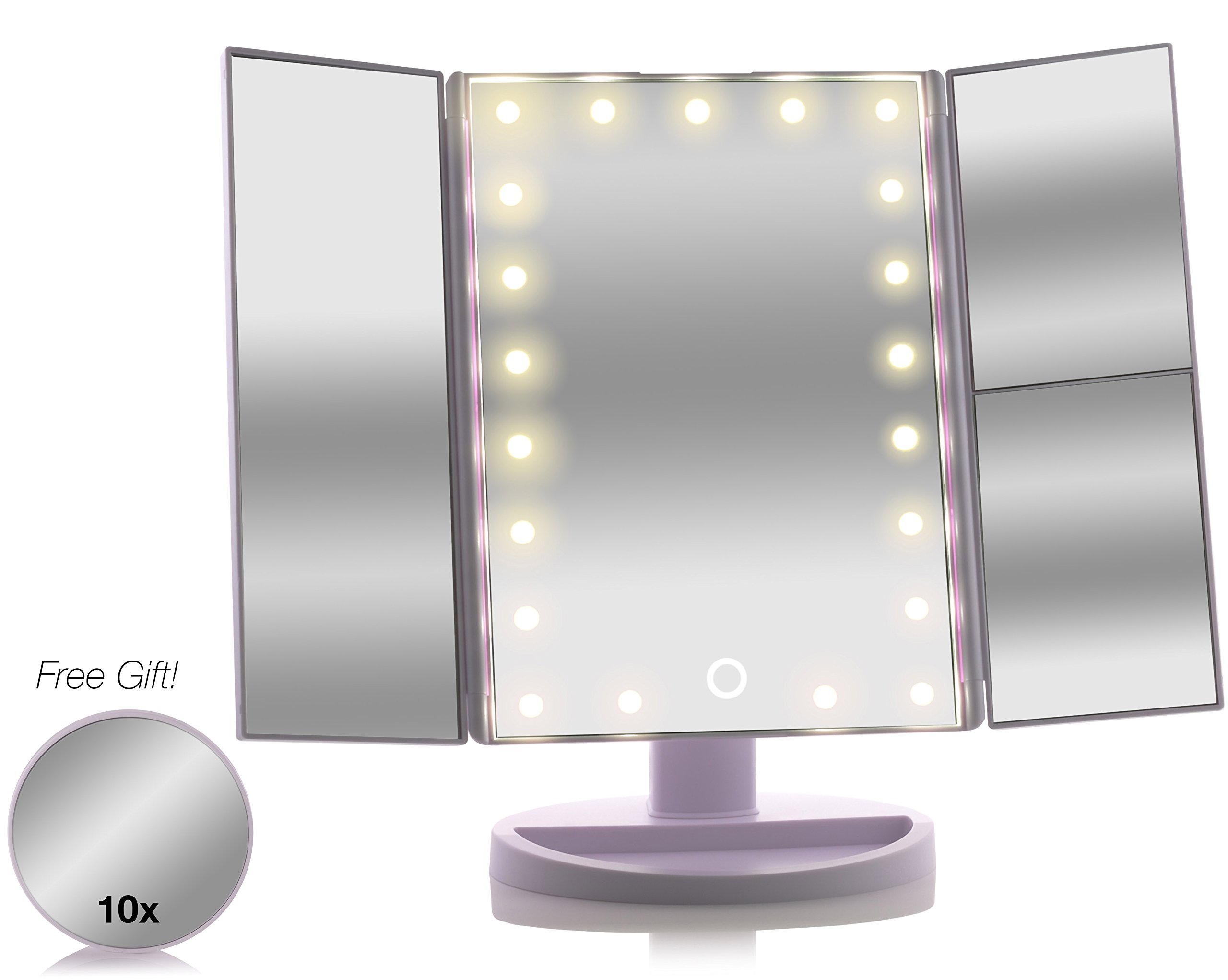 Asani Tri-Fold Lighted Magnification Makeup Mirror with a FREE 10X Spot Mirror   21 LED Lights & Touch Controls   1X / 2X & 3X Magnifying Cosmetic Vanity Folding Mirrors for Dresser and Travel (White)