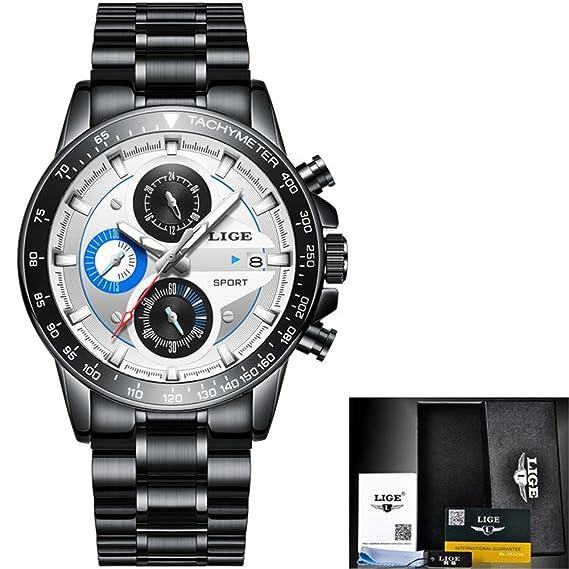 Relojes para hombre Top Luxury Quartz Watch Hombres Fashion Business Reloj de acero lleno impermeable Reloj