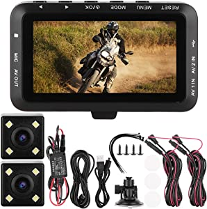 Motorcycle DVR Dash Cam 3.0 inch LCD 1080P Full HD Motorcycle Driving Recorder Motorbike Front and Rear Camera G-sensor Driving Recorder Dashboard Camera
