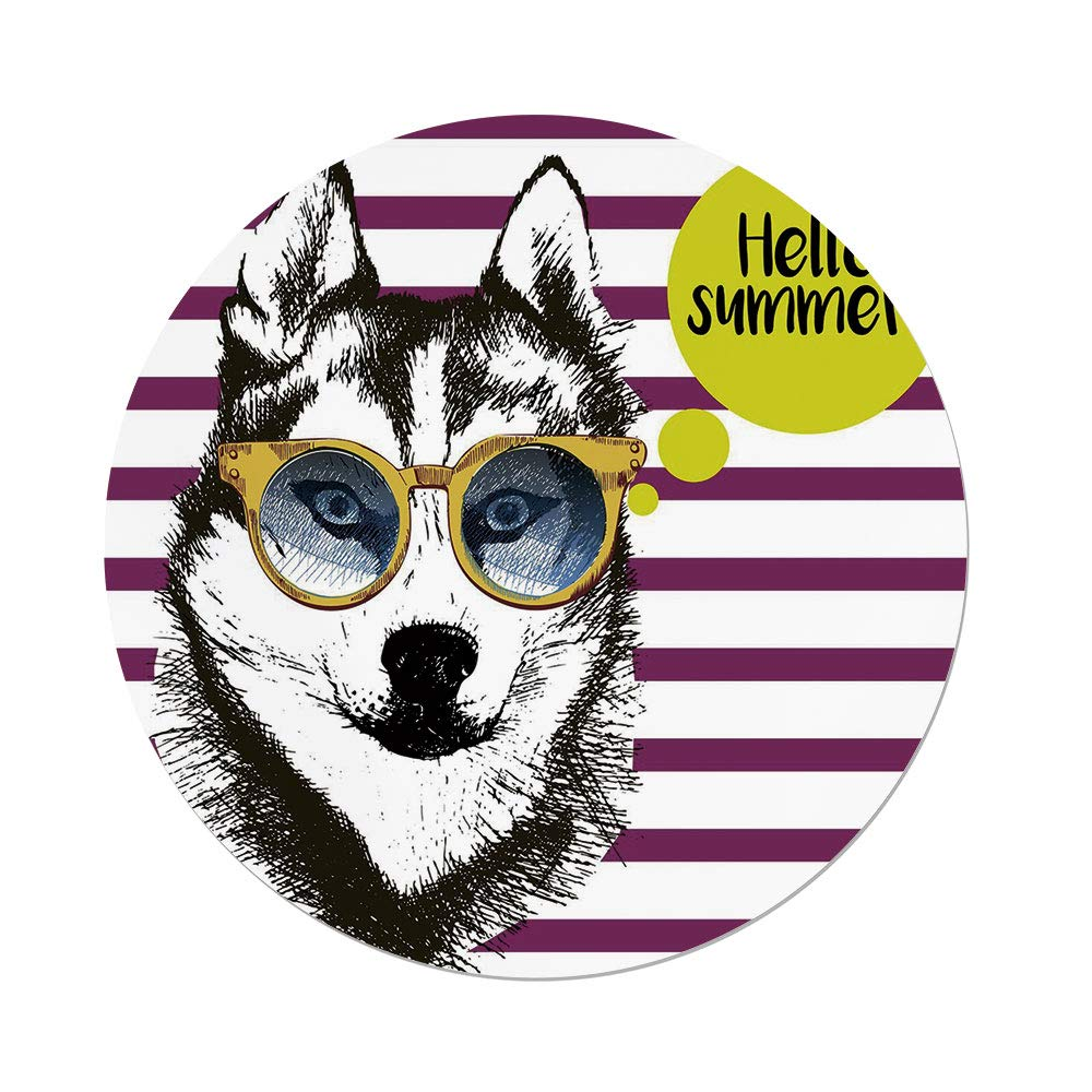 iPrint Polyester Round Tablecloth,Alaskan Malamute,Purple Stripes Husky Sketch Yellow Hipster Glasses Hello Summer Quote Decorative,Multicolor,Dining Room Kitchen Picnic Table Cloth Cover Outdoor I
