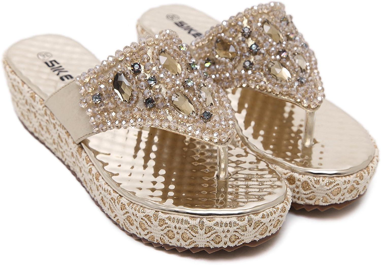 DQQ Womens Silver Gladiator Thong Sandal 7.5 US