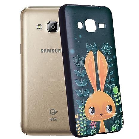 Yunbaozi Funda Samsung Galaxy J3 2016 Carcasa Impresión Lindo Conejo