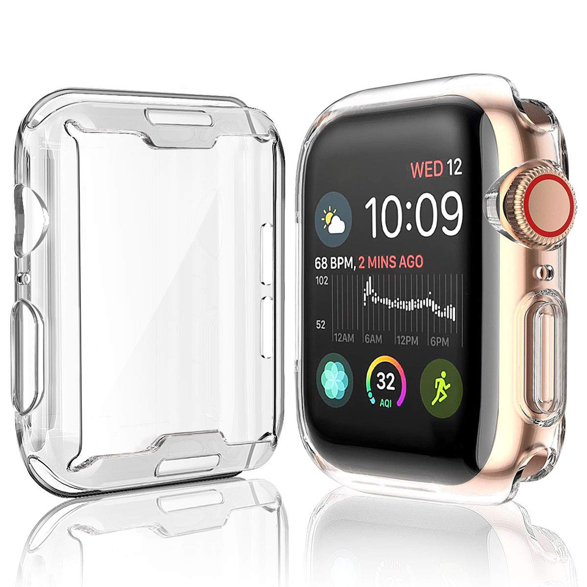 a basso prezzo abc5e 242db [2-Pack] Julk Case for Apple Watch Series 5 / Series 4 Screen Protector  40mm, 2019 New iWatch Overall Protective Case TPU HD Clear Ultra-Thin Cover  ...