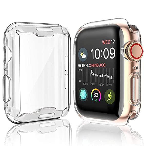 purchase cheap 9d3d1 cabc4 Julk [2-Pack] Case for Apple Watch Series 4 Screen Protector 40mm, 2018 New  iWatch Overall Protective Case TPU HD Clear Ultra-Thin Cover for Apple ...