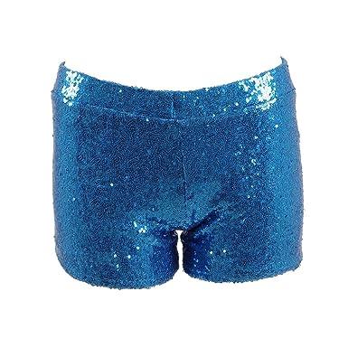 Fan Kouyang Damen Sequin Shine Glitter Shorts Paillette verschönert Party  Kurze Hose (XS, Azurblau 670c5845c1