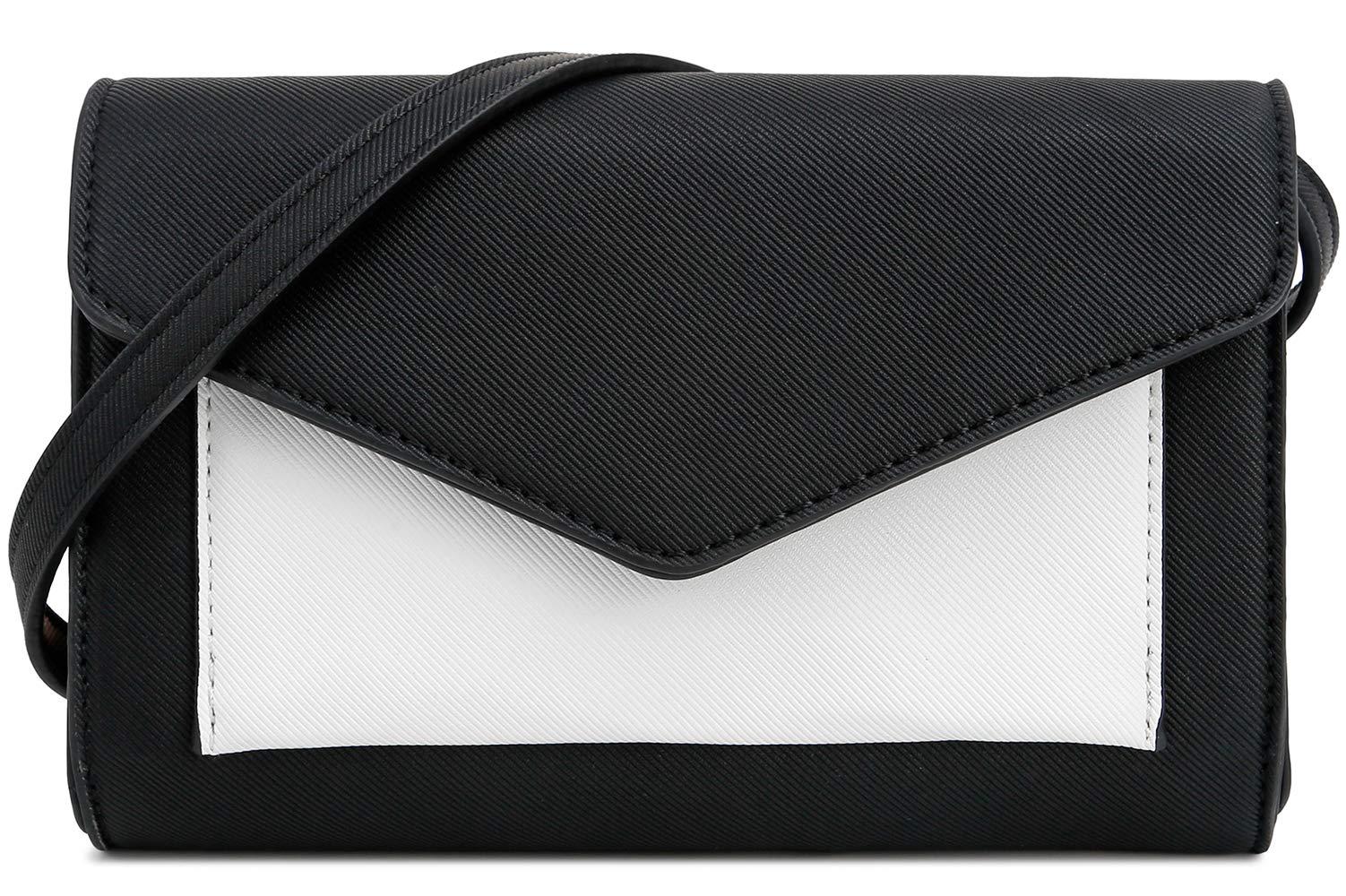 DELUXITY Women's Envelope Clutch Crossbody Wallet (Black/White)