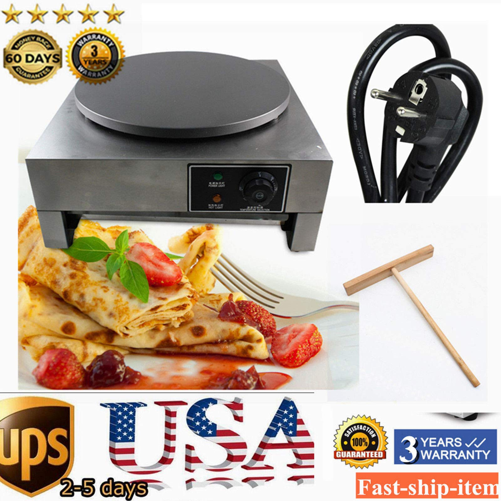 Crepe Maker Machine Pancake Griddle, 3KW 16'' Commercial Nonstick Electric Crepe Maker Pancake Machine Kitchen (US Stock) by GDAE10 (Image #2)