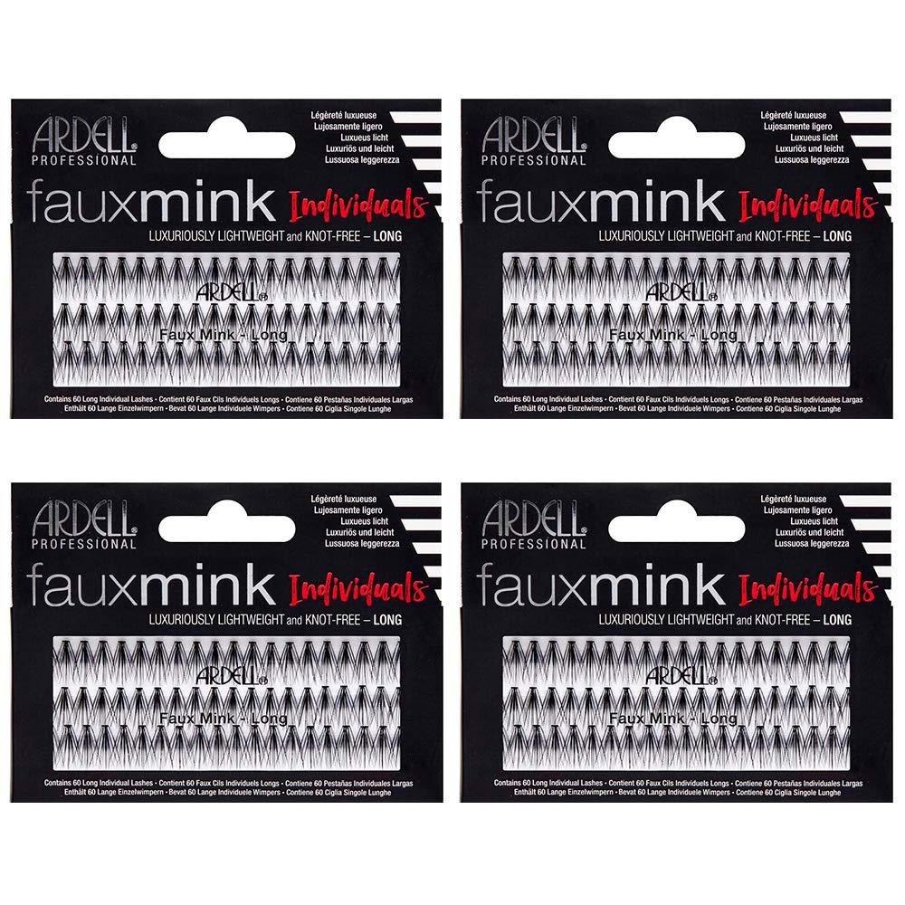 Ardell False Eye Lashes Faux Mink Individuals Long Black 4 Pack