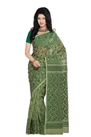35c2276bc3 Mayurakshi Women's Pure Cotton Green Dhakai Jamdani Embroidered Saree/Partywear  Saree/Wedding Saree/