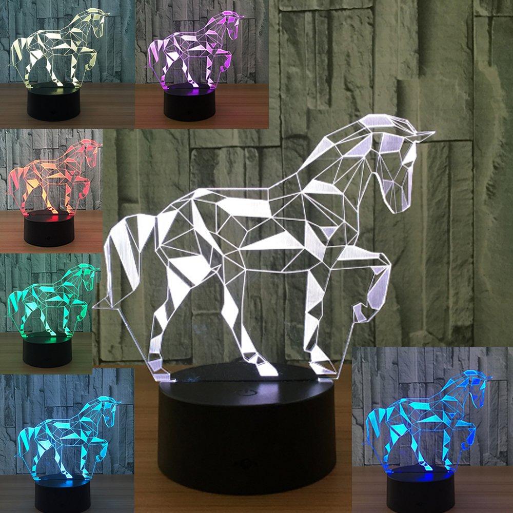 3D Lamp Horse Illusion Night Light Led Optical Bedroom Light for Kids Color Changing Nursery Desk Mood Lamp for Room Decor
