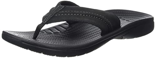 f0456e0a5 crocs Men s Yukon Mesa Flip M or Black Leather Flops Thong Sandals-M10  (202594