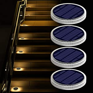Solar Deck Lights Outdoor Waterproof, Garden Driveway Walkway Pathway Ground Step Dock Lights Solar Powered, LED Solar Lighting for Backyard Patio Lawn, auto ON/Off - Warm White(4 Pack).