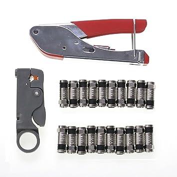 Cable coaxial pelacables herramienta de compresión alambre terminal Crimper ajustable cortador de alambre para cable coaxial