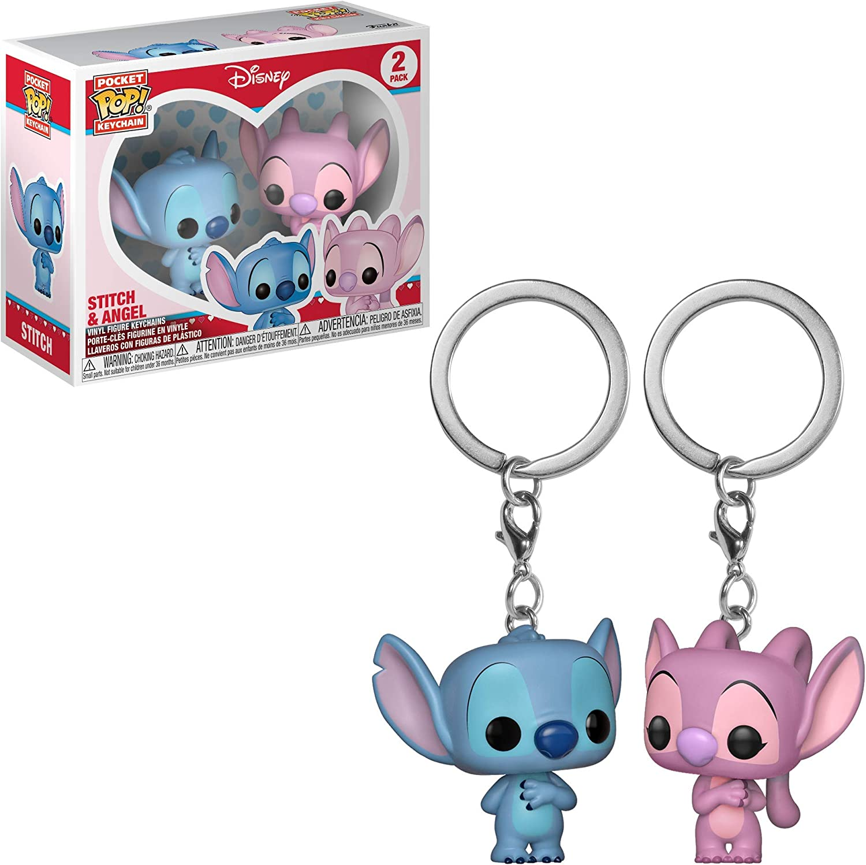 Funko Pop! Keychain: Lilo & Stitch & Angel 2 Pack Toy, Multicolor