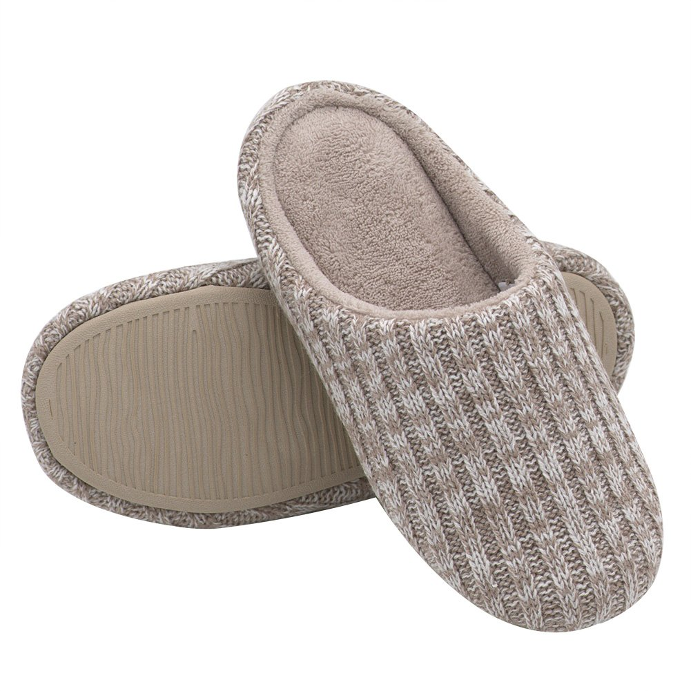 HomeIdeas Women's Cashmere Cotton Knitted Anti-Slip House Slippers(Large / 9-10 B(M) US, Beige)