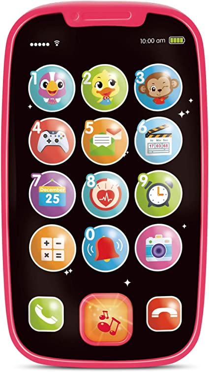Amazon Com My First Smartphone Cell Phone Baby Toy For Toddlers And Young Children 15 Unique Buttons And Functions Musical Melodies Animal Sounds And Number Learning For 1 Year Old Kids And