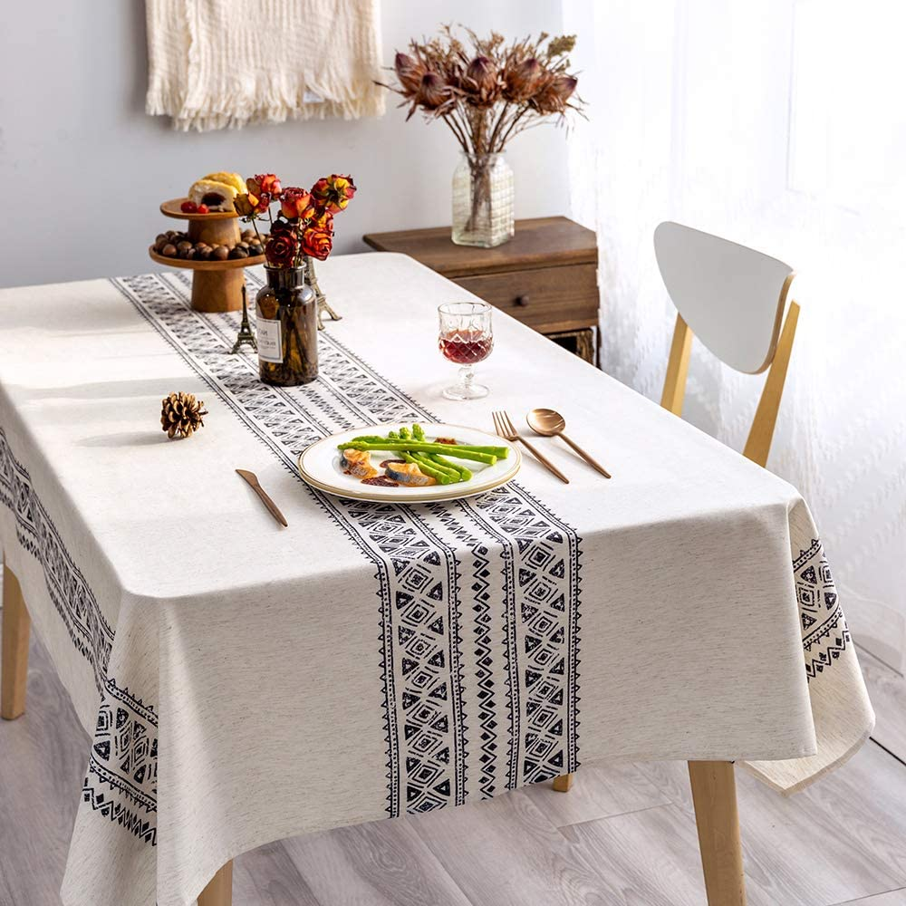 GLORY SEASON Rustic Tablecloth Linen Fabric Decorative 55x120 Rectangle Printed Pattern Geometry Design Non-Fade Washable Table Cover for Kitchen Dining Tabletop