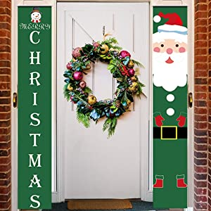 WEEFEESTAR Christmas Decorations Outdoor Banner, Merry Christmas Decor Porch Hanging Sign for Front Door, Holiday Home Indoor Outdoor Porch Decor