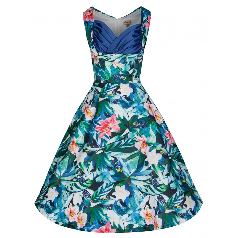 Lindy Bop 'Ophelia' Tropical Blue Leaf Print Swing Dress