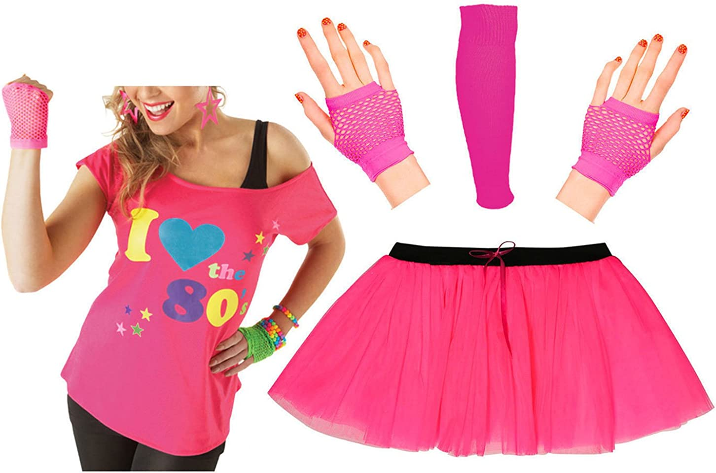 I LOVE THE 80s Ladies T-Shirt Outfit Fancy Dress Costume Neon Tutu 80/'s Gloves