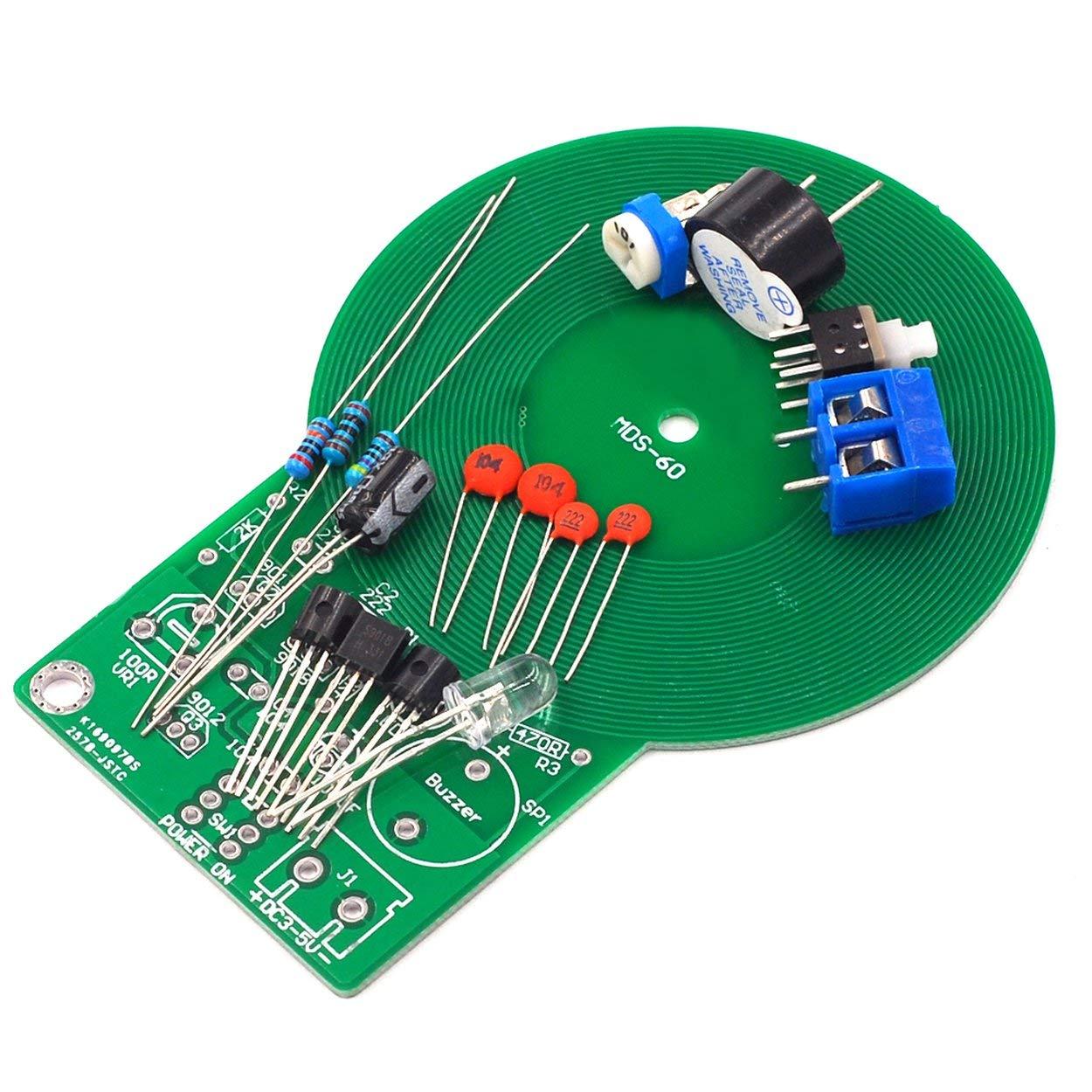 Lorenlli Kit de pr/áctica de Soldadura La Parte electr/ónica del Detector de Metales Produce Sonido y luz despu/és de detectar el Kit del Detector electr/ónico