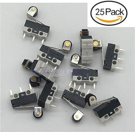 UEETEK 10pcs 250V 5A SPDT 1NO 1NC levier de rouleau de charni/ère momentan/ée Micro commutateurs 3 broches
