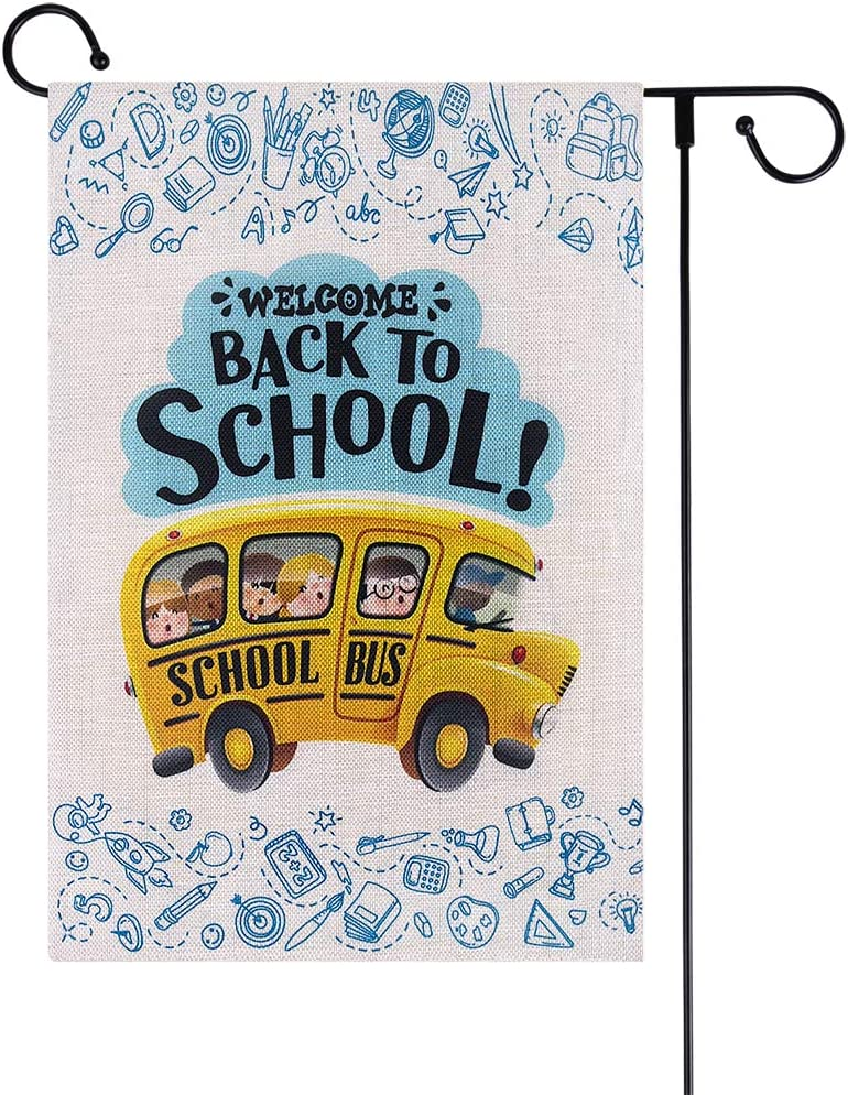 WaaHome Welcome Back to School Garden Flag First Day of School Flag 12x18 Double Sided Back to School Yard Flag Outdoor Decroations