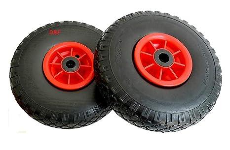 D&F - Ruedas para carretilla (2 unidades, 260 mm, poliuretano, antipinchazos,
