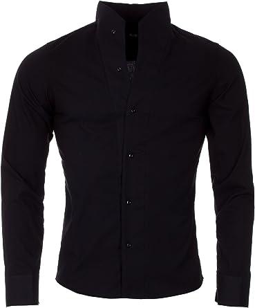 ReRock - Camisa Casual - Básico - Cuello Mao - Manga Larga - para Hombre Negro Small: Amazon.es: Ropa y accesorios