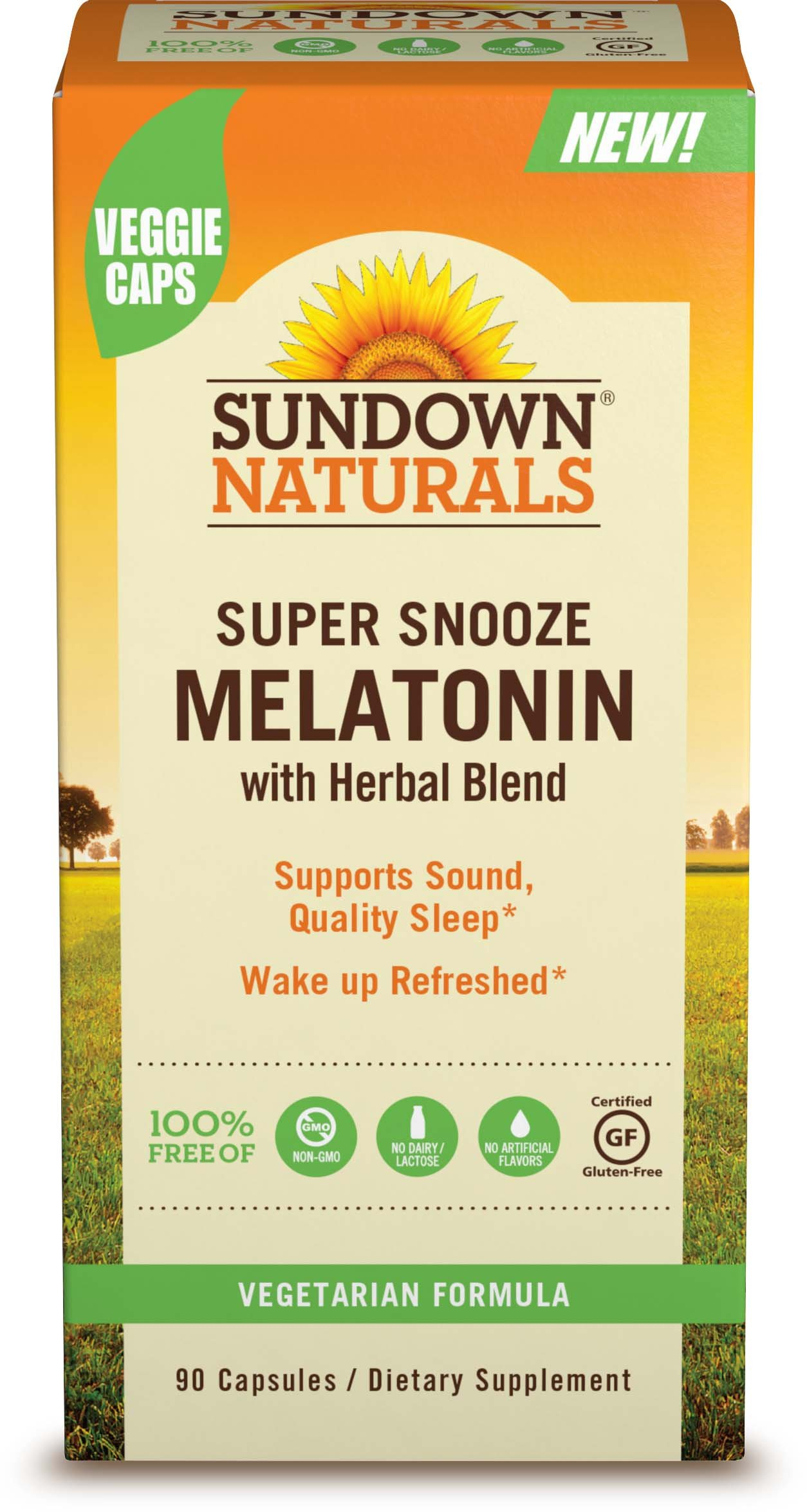 Sundown Naturals Super Snooze Melatonin Capsules, 90 Count