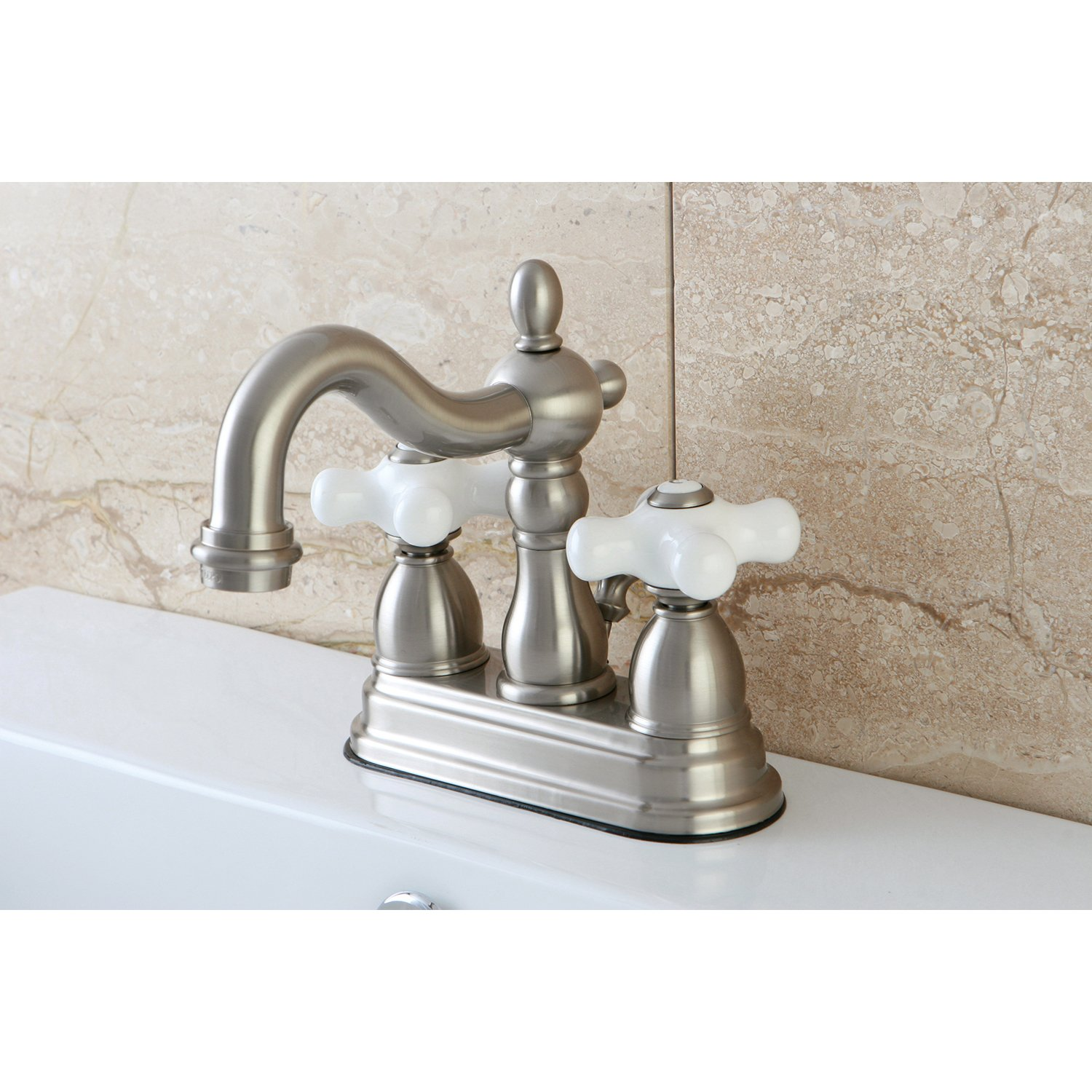 Polished Chrome Kingston Brass KB1601PX Heritage 4-Inch Centerset Lavatory Faucet with Porcelain Cross Handle