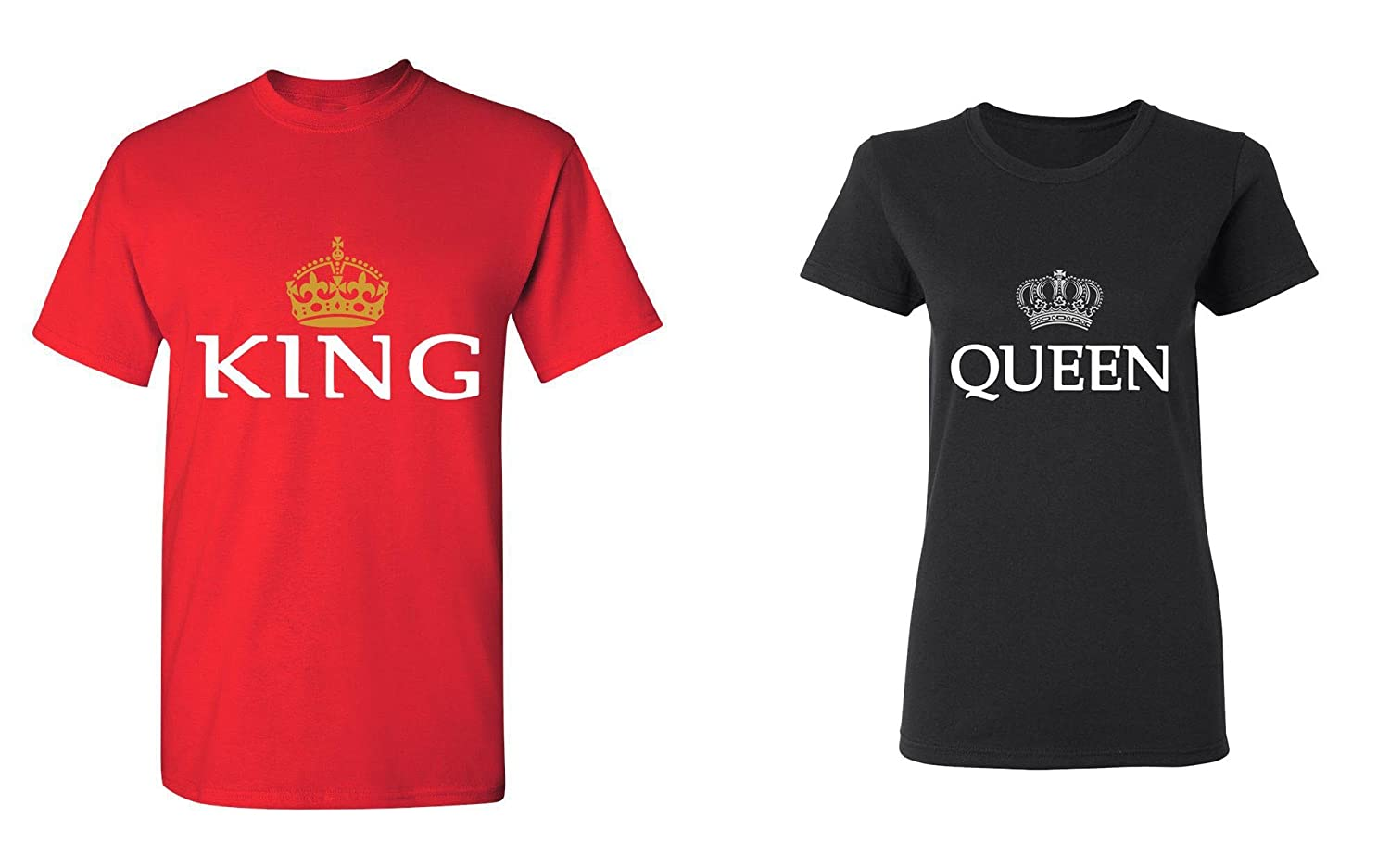 ceb0febb Amazon.com: King & Queen - Matching Couple Shirts - His and Her T-Shirts -  Love Tees: Clothing