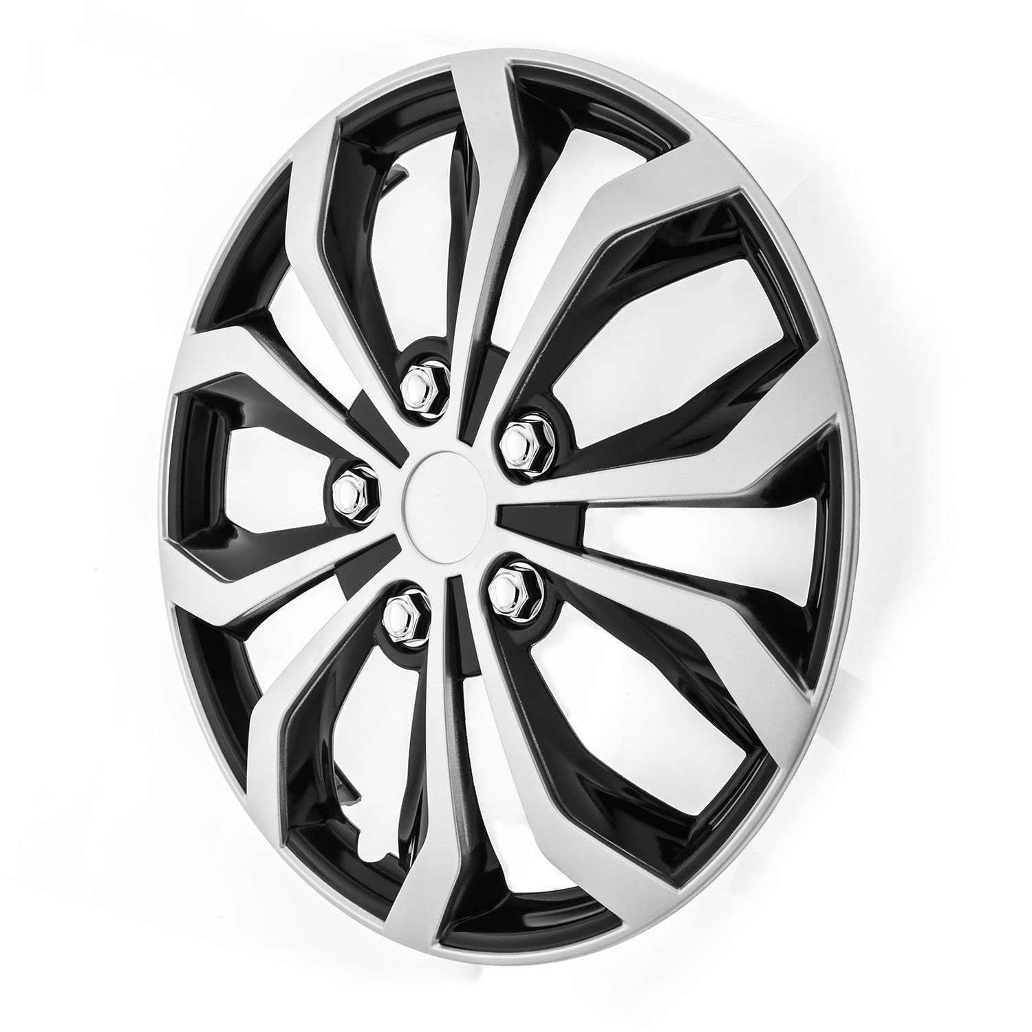 Pilot WH553-16S-BS Universal Fit Spyder Black/Silver Finish 16 Inch Wheel Covers - Set of 4 by Pilot Automotive (Image #2)