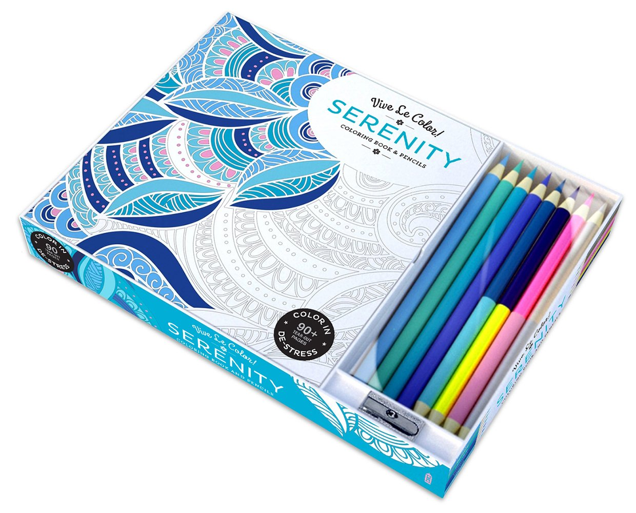 Vive Le Color Serenity Adult Coloring Book And Pencils Therapy Kit Abrams Noterie 9781419720543 Books