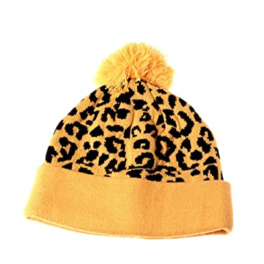 b4168138913 Image Unavailable. Image not available for. Color  Yellow Cheetah Pom  Beanie Leopard Print Pattern Cuffed Knit Hat Winter Cap