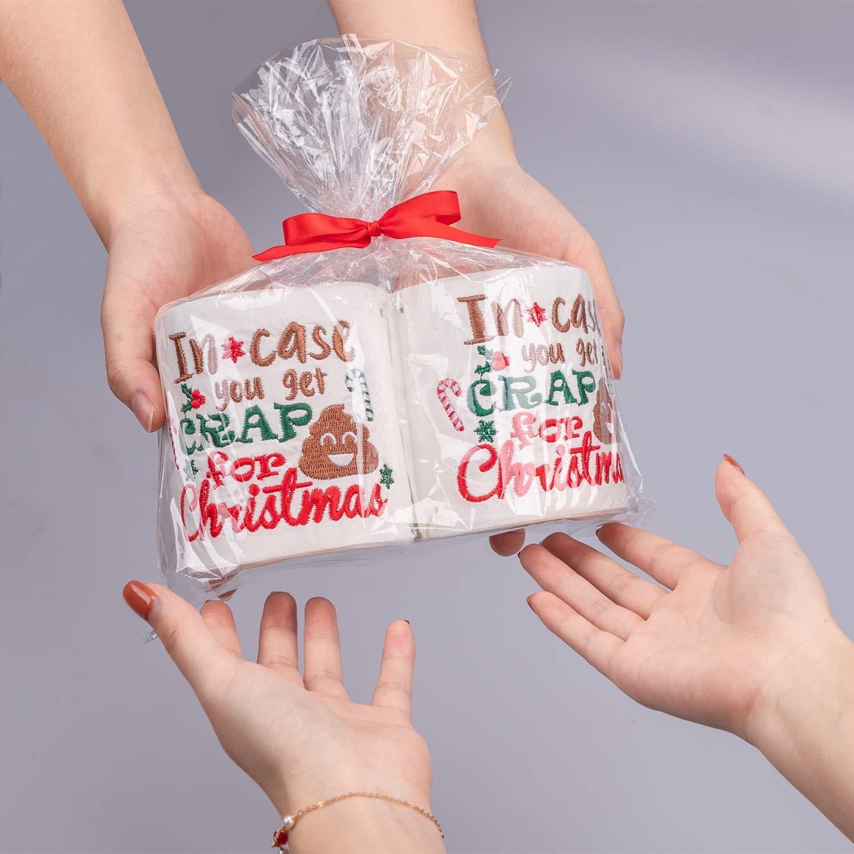 90shine Christmas Embroidered Toilet Paper Decorations - Xmas Party/White Elephant/Gag Gift/ Bathroom Decor