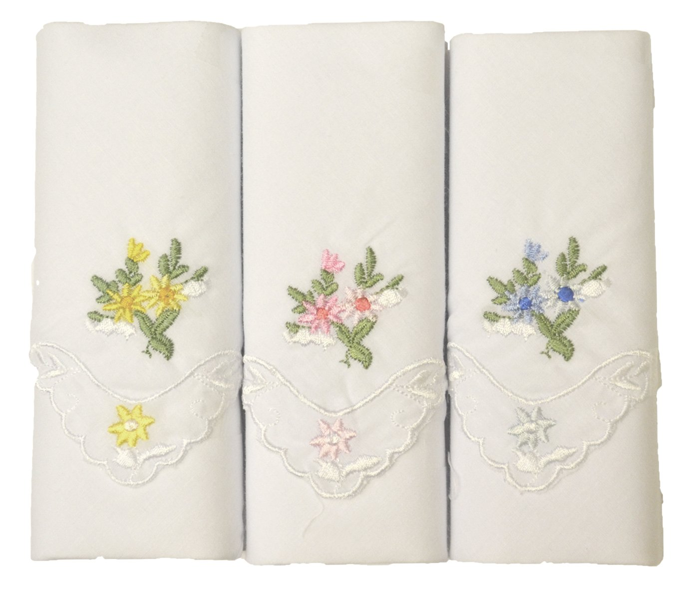 3 Boxed Ladies Coloured Embroidered Lace Corner Handkerchiefs 100% cotton