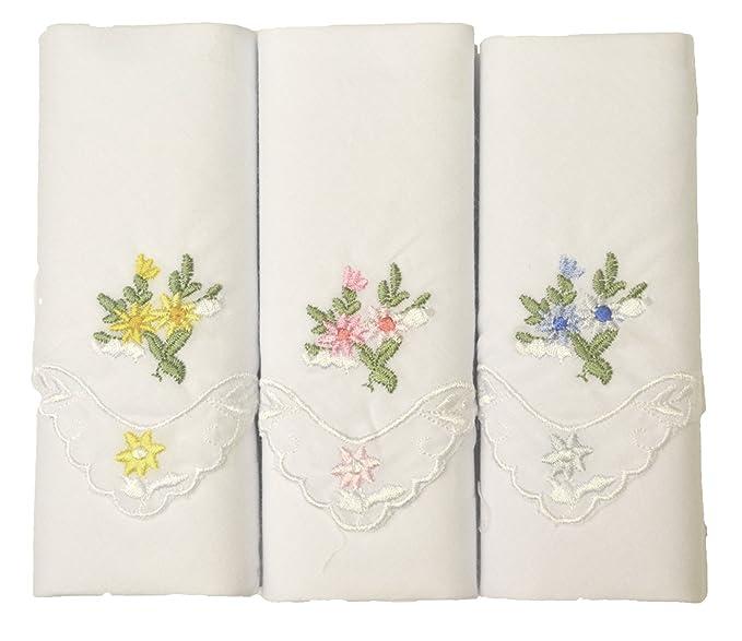 One Stop Eshop 3er Pack bestickte Damen Taschentücher aus 100 ...