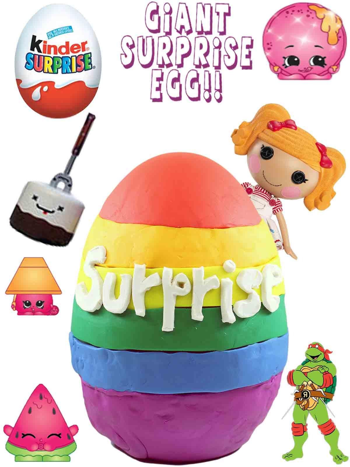 e0fba16e4 Amazon.com: Giant Rainbow Play Doh Surprise Egg   Shopkins BFFs My Little  Pony Kinder Eggs LEGO: Kathy, Jason, Awesome Toys TV