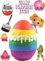 Giant Rainbow Play Doh Surprise Egg | Shopkins BFFs My Little Pony Kinder Eggs LEGO