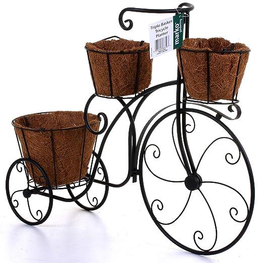 Marko Maceta de jardín para Bicicleta, de Metal, Color Negro, para ...
