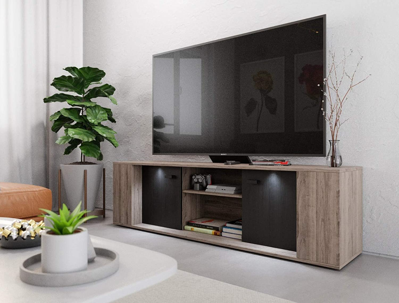 Mobile TV moderno con illuminazione a LED, 145 cm, mobile ...