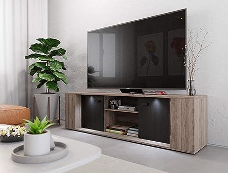 Mueble de TV Moderno con iluminación LED de 145 cm, Mueble de Madera salón: Amazon.es: Hogar