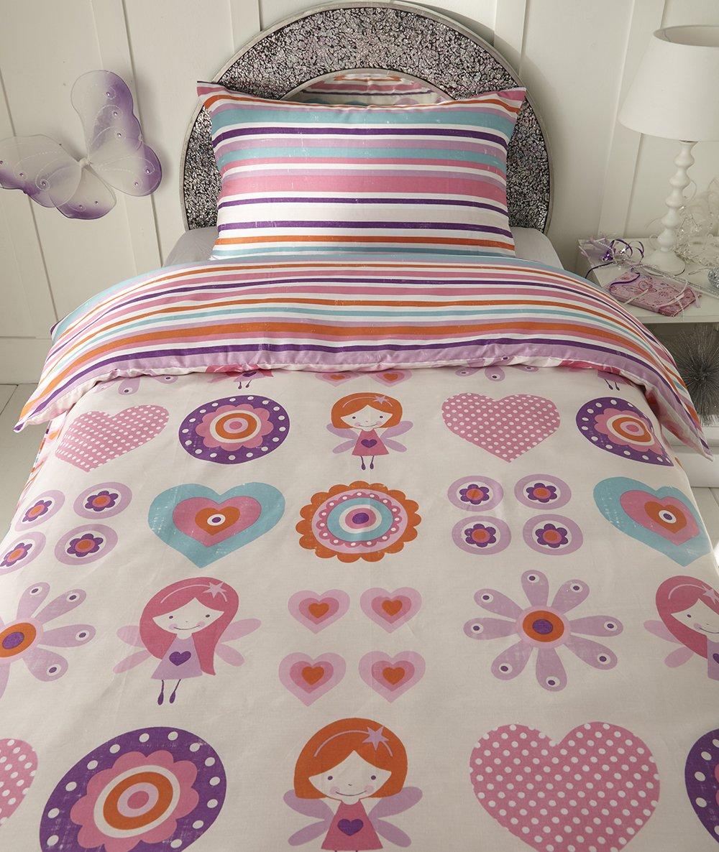 Hearts and Flowers Reversible Stripe Design Single Duvet Set Princesses SLEEPSCENE Girls Multicoloured Fairies