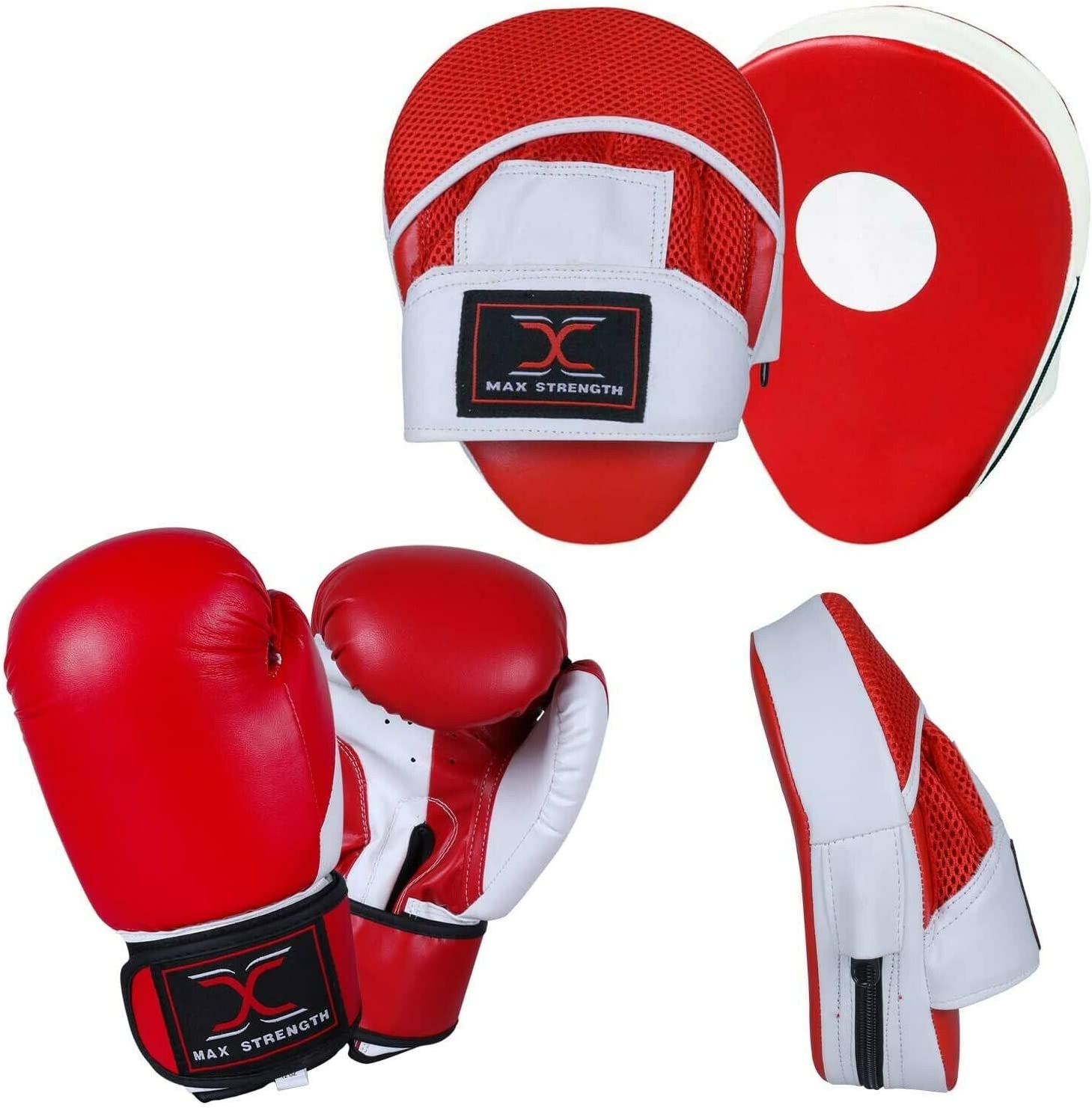 MAXSTRENGTH Boxing Gloves and Curved Focus Pads MMA Boxing Kick Training Hook /& Jabs Pro Set Multi Colours