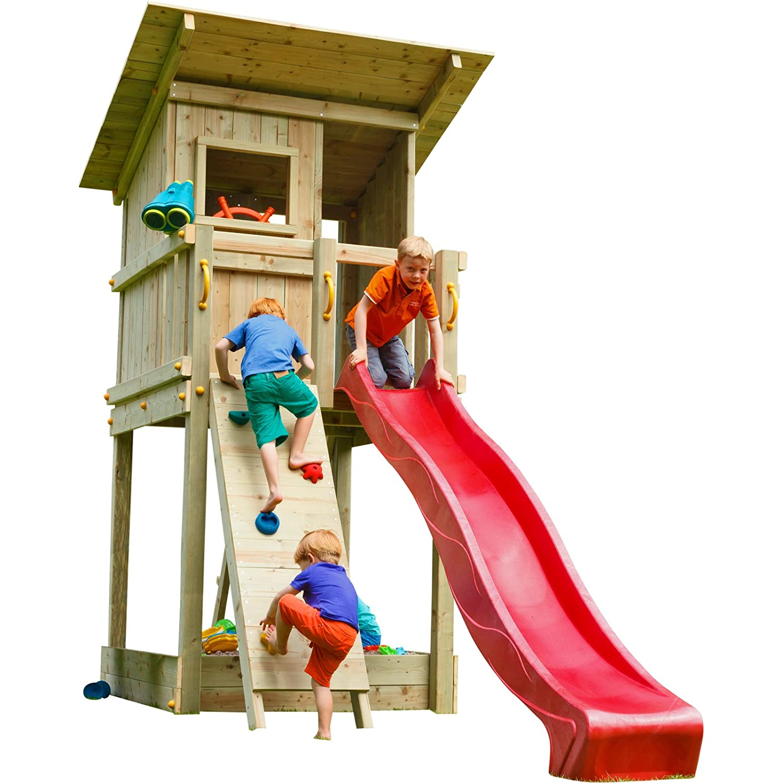 Blue Rabbit 2.0 Spielturm BEACH HUT mit Rutsche + Kletterwand Fernrohr Lenkrad Kletterturm Holzturm aus Kiefer MASSIVHOLZ imprägniert (Rot)