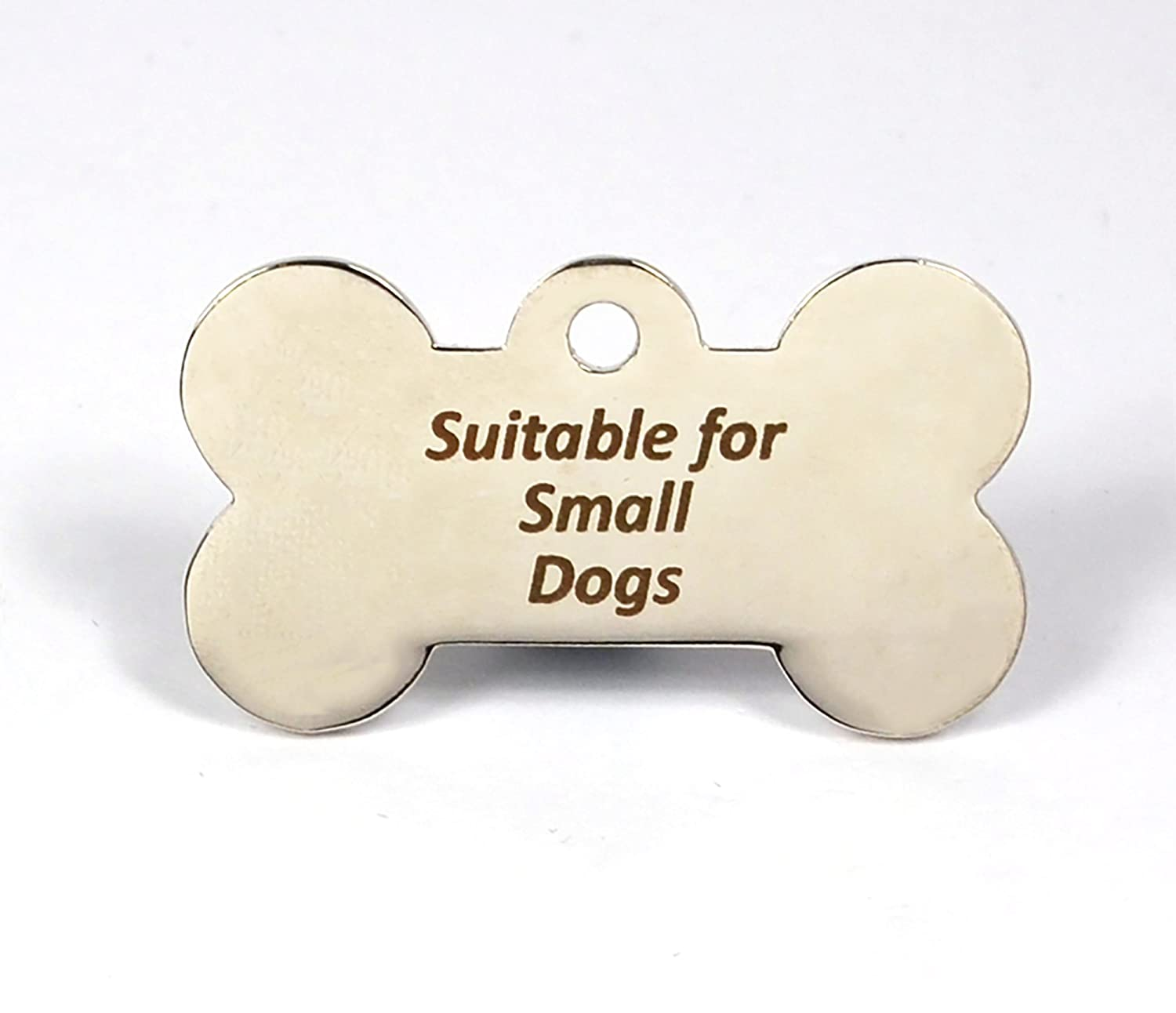 Engraved Bone Shaped Pet ID Dog Tags, BOLD Contrasting Text, Both Sides Engraved (Silver, 38mm*25mm) engravables