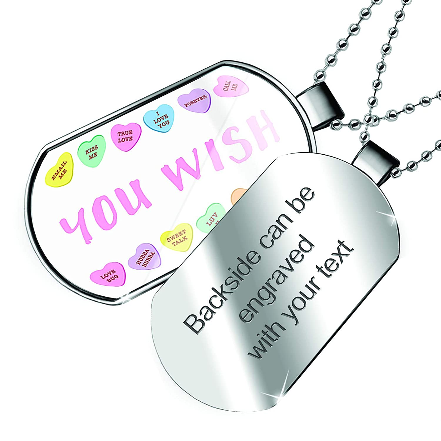 NEONBLOND Personalized Name Engraved You Wish Valentines Day Conversation Hearts Border Dogtag Necklace