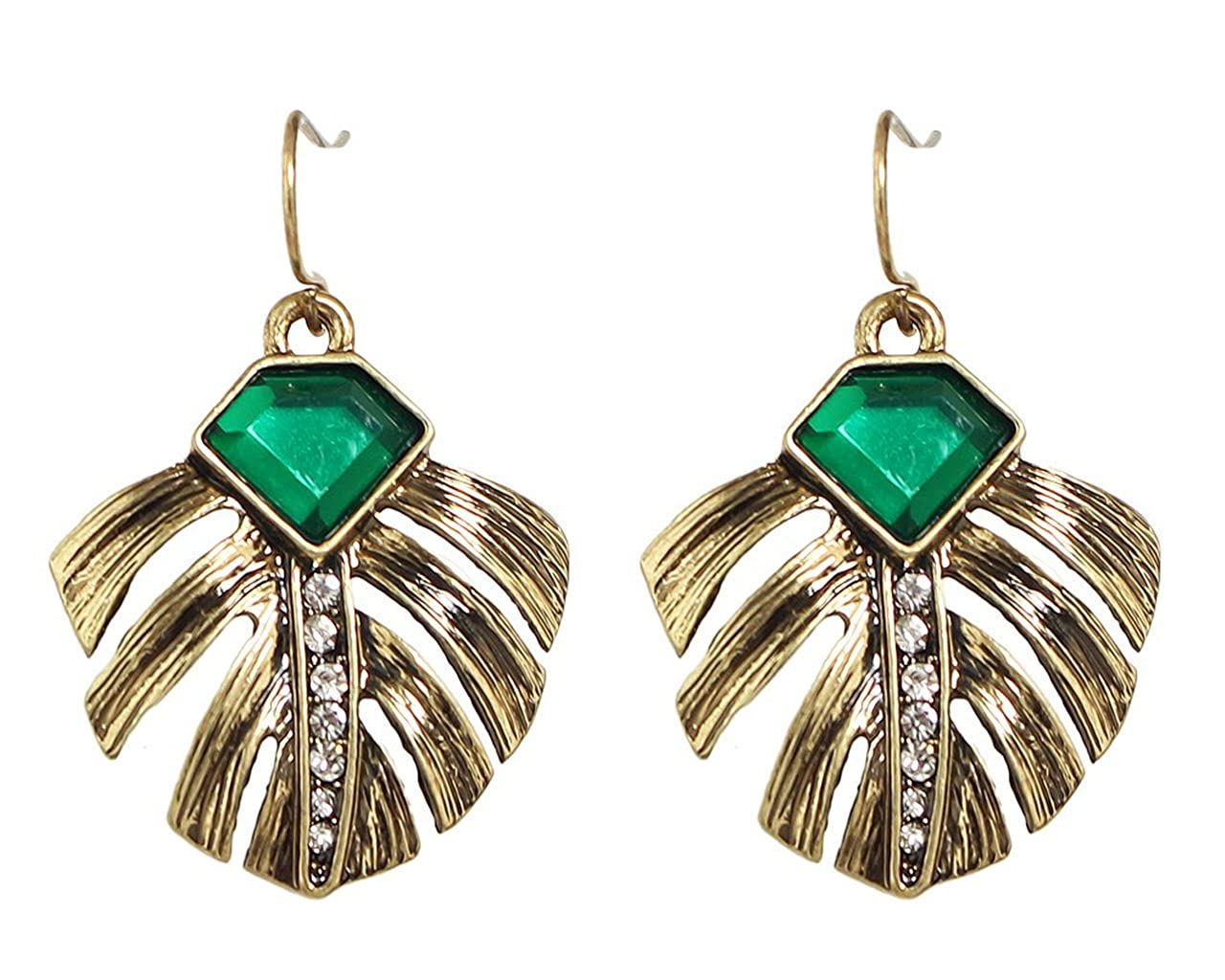 Glitz Cinderella Collection Green Stone Stylish Party Wear Ear Cuffs Earrings For Girls//Women