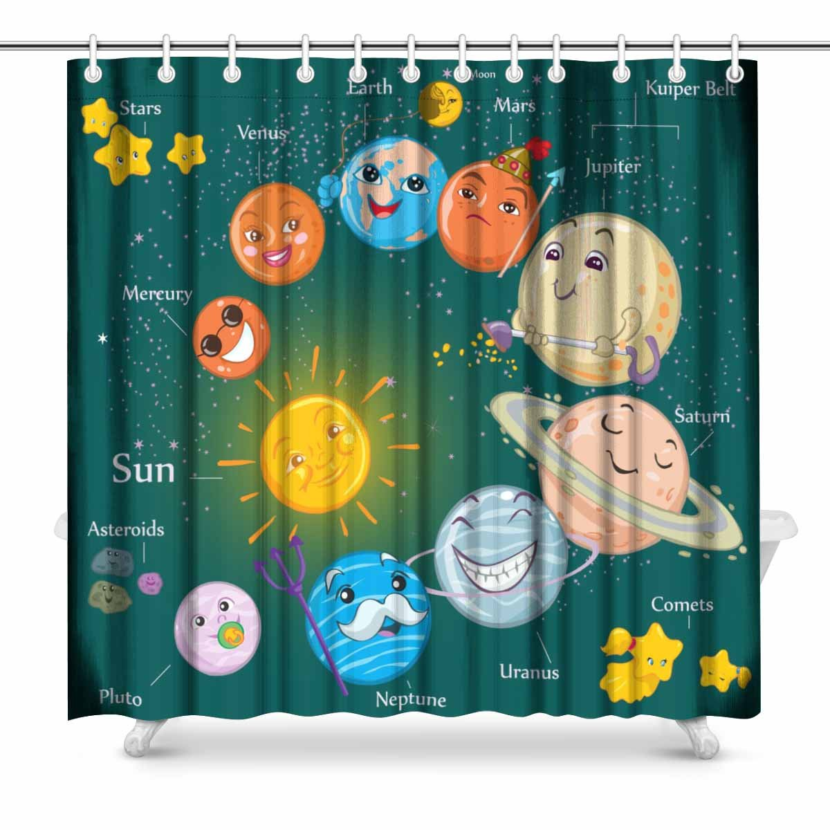 InterestPrint Solar System Bathroom Decor Shower Curtain Set with Hooks, 72 Inches Long